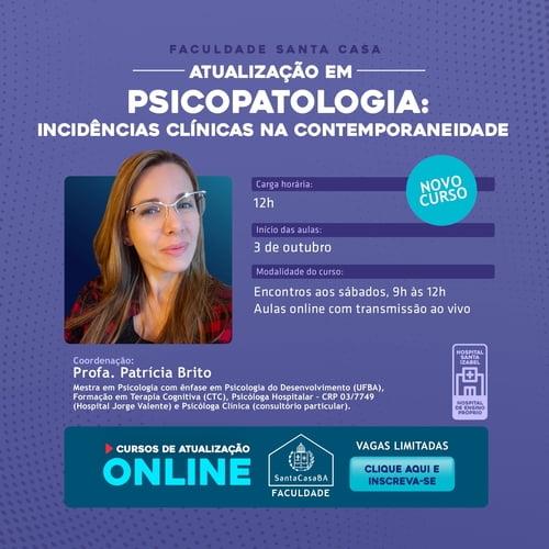 Faculdade Santa Casa lança o Curso de Atualização em Psicopatologia